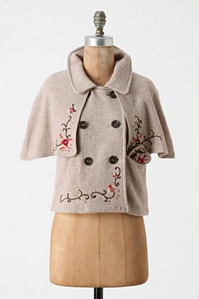 Safekeeping Capelet - Anthropologie.com :  wool floral embroidered trench