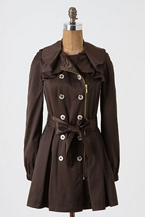 Engla Trench - Anthropologie.com :  ribbon side pockets trench coat moss