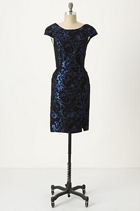 Zibo Midnight Sheath - Anthropologie.com :  padded shoulders shimmery midnight blue asian inspired
