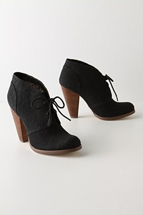 Keep Close Booties - Anthropologie.com :  nubby stacked heel burlap lace up