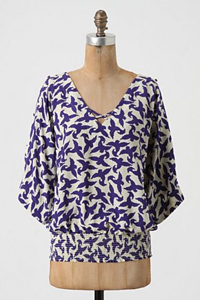 Winged Blouson - Anthropologie.com :  cobalt smocked silk pullover