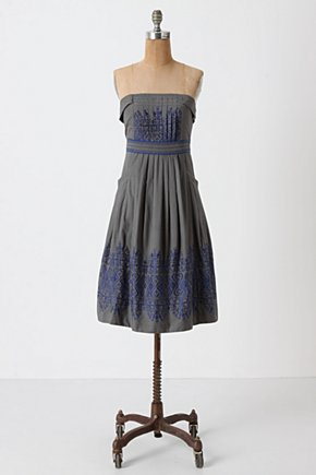 Sewing Circle Dress - Anthropologie.com :  patterned embroidery front pockets swing dress