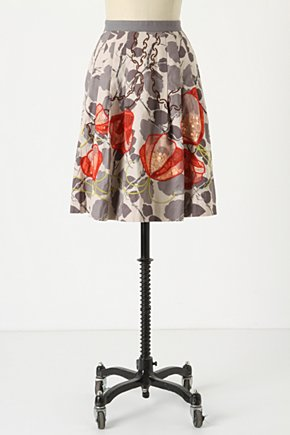 Glowing Leaf Skirt - Anthropologie.com :  shadow striped sequin grey applique