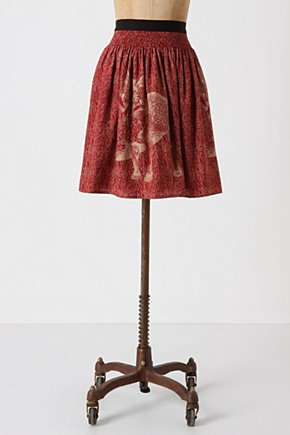 Wooded Hideaway Skirt-Anthropologie.com :  nature inspired silk red fox