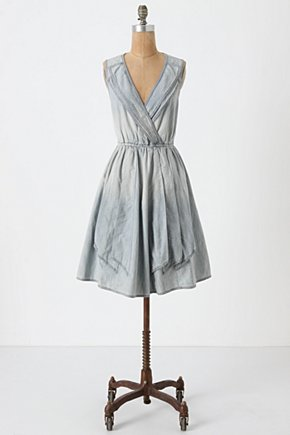 Draped Denim Dress - Anthropologie.com :  lapel bleached sundress applique