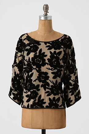 Velvet Dynasty Top - Anthropologie.com :  loose floral black silk
