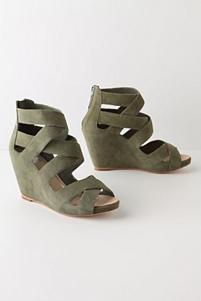 Via Cardorna Wedges  :  wedges leather green cream