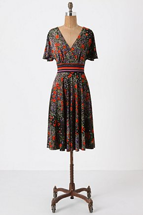 Esmeralda Dress - Anthropologie.com :  crossover bust frock midnight black black and floral