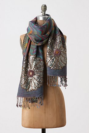 Rainbows In Motion Scarf - Anthropologie.com :  beaded flowy swirly psychedelic