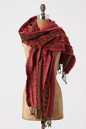 Magenta Trimmings Scarf - Anthropologie.com :  wool geometric frayed scarf
