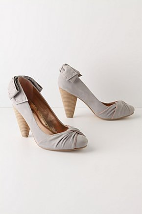 Salutations & Closings Heels - Anthropologie.com :  leather bow grey gray