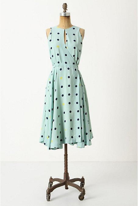 Across The Land Dress - Anthropologie.com :  blue dress dots rayon
