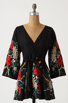 Garden Garnish Kimono Top - Anthropologie.com :  kimono black and floral stitched asian inspired