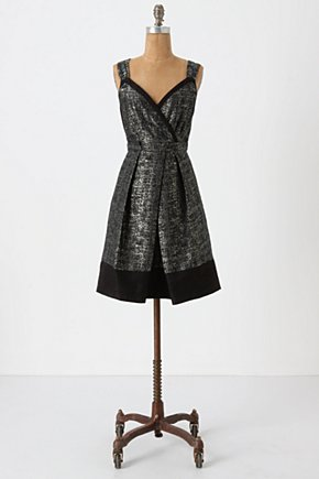 New Years Tweed Dress - Anthropologie.com :  party frock flowy black and silver sparkly