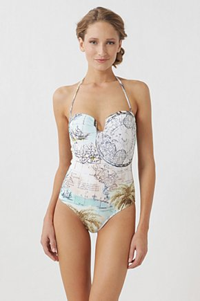 New World Maillot - Anthropologie.com :  underwire olive green grey tropical print