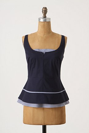 Checkmate Tank - Anthropologie.com :  gingham piping navy shirt