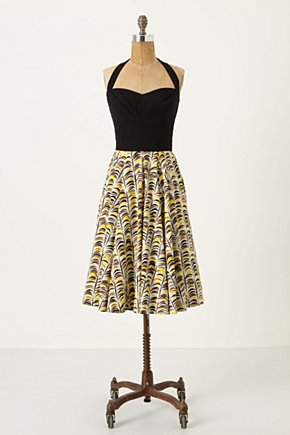 Memory Of Feathers Dress - Anthropologie.com :  halter top frock feather print pleated