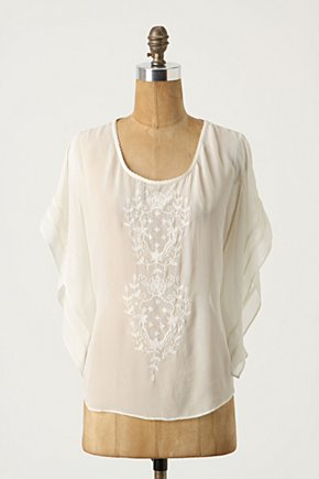 Heroine's Homecoming Top - Anthropologie.com :  blouse silk embroidered stitching