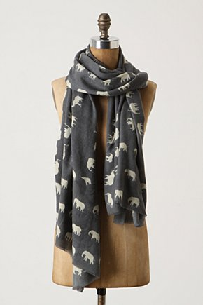 Elephant Salute Scarf - Anthropologie.com :  wool black and white elephant safari inspired