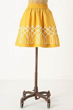 Sugar Work Skirt - Anthropologie.com :  linen lattice side pockets gold