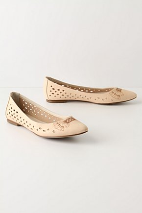 Decidedly Gamine Flats - Anthropologie.com :  diamonds beige closed toe feminine