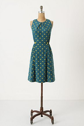 Take Action Dress - Anthropologie.com :  chartreuse dress sweet decorative buttons