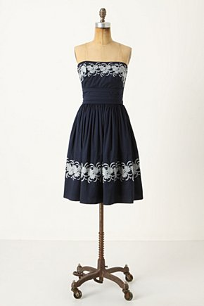 Around The Maypole Dress - Anthropologie.com :  country inspired frock stitched navy