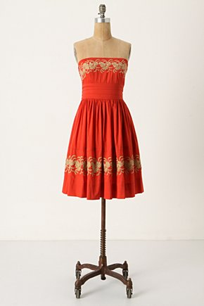 Around The Maypole Dress - Anthropologie.com :  red cotton flowers stitched