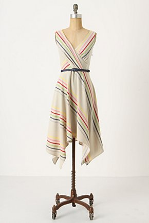 Crossing The Stripes Dress - Anthropologie.com :  flowy cream rainbow handkerchief hem