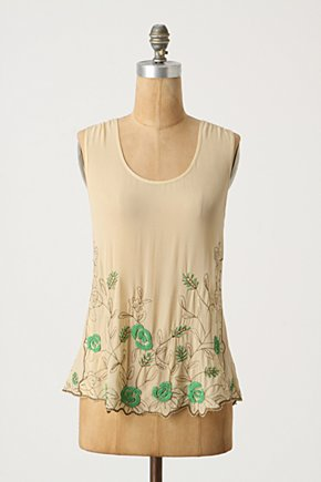 Emerald Poppy Blouse - Anthropologie.com :  blouse tank top emerald metallic