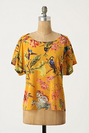 Nature Collage Blouse - Anthropologie.com :  blouse yellow avian charmeuse