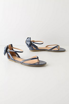 Promenade Thongs - Anthropologie.com :  sandal blue and white bow shiny