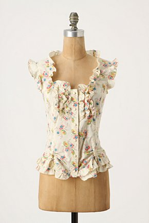 Epoch Blouse - Anthropologie.com :  button front voile ruffled vintage inspired