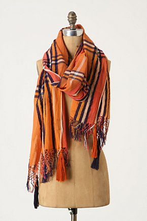 Complementary Scarf - Anthropologie.com :  gauzy stripes orange scarf