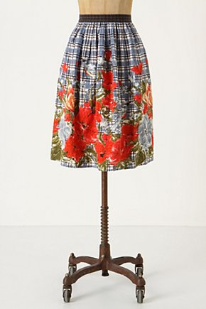 Picked Plaid Skirt - Anthropologie.com :  light blue linen blend red poppy