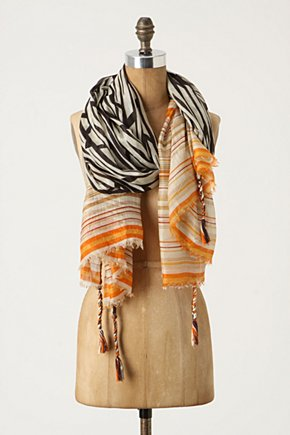 Biharamulo Scarf - Anthropologie.com :  tassels braided stripes black and white