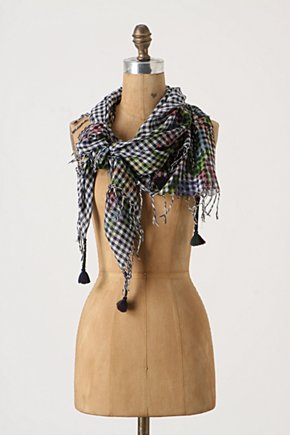 Painter's Cloth Scarf - Anthropologie.com :  floral tassels gingham fringe
