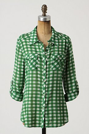 Cissus Button-Up, Gingham - Anthropologie.com :  gingham button up roll up sleeves brushed
