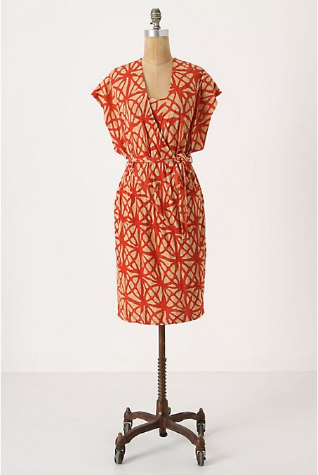 Counting Angles Dress - Anthropologie.com :  short sleeves pattern print orange