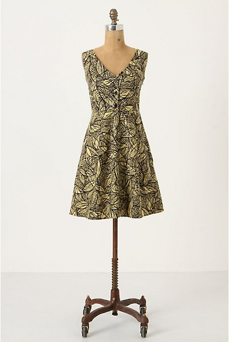 Emerging Leaves Dress - Anthropologie.com :  crinoline day dress flouncy leaf print