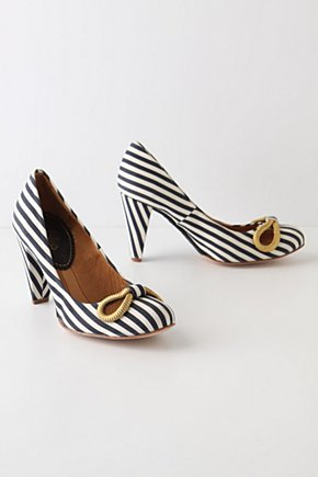 Jaunty Bow Heels - Anthropologie.com :  rope pumps blue and white bow