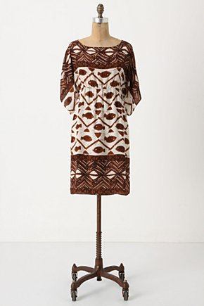 Aquaria Shift - Anthropologie.com :  shift dress silk tribal brown and white