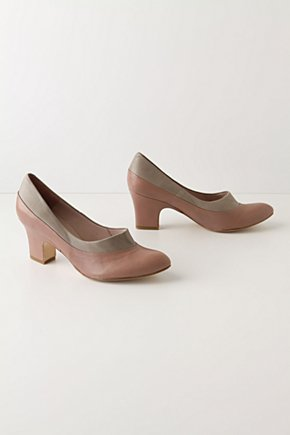 Surveyor Heels - Anthropologie.com :  pumps leather taupe two tone