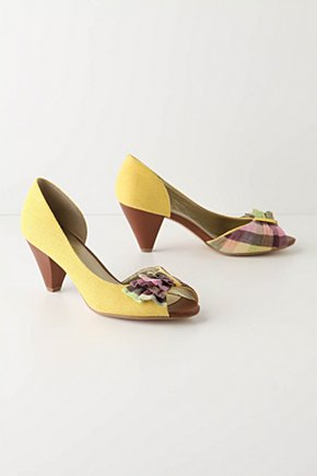 Side-Part Heels - Anthropologie.com :  peep toe ruffles sunny dorsay