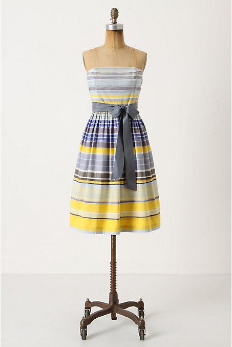 Paraiso Dress - Anthropologie.com :  sky blue boning yellow side pockets