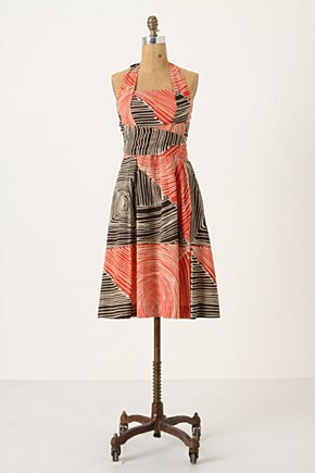 Study Of Shapes Dress - Anthropologie.com :  orange swirly halter neck flouncy