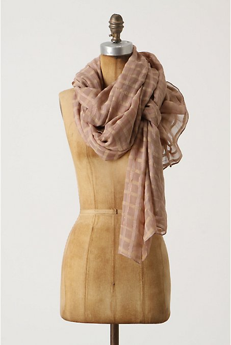 Glinting Windowpanes Scarf - Anthropologie.com :  neutral silk airy scarf