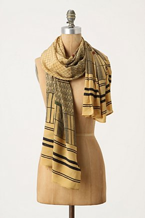 Woodblock Print Scarf - Anthropologie.com :  patterned silk asian inspired crepe