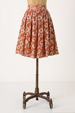 Wallflower Skirt - Anthropologie.com :  embroidered pleated orange daisy