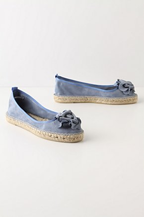 New Wave Espadrilles - Anthropologie.com :  light blue flower suede skimmers